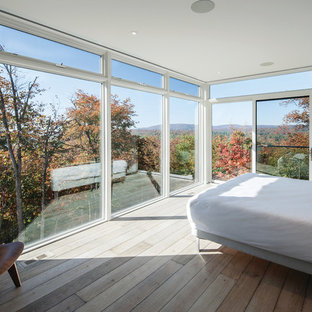モントリオールの大きいモダンスタイルのおしゃれな主寝室 (白い壁、無垢フローリング、暖炉なし) のインテリア