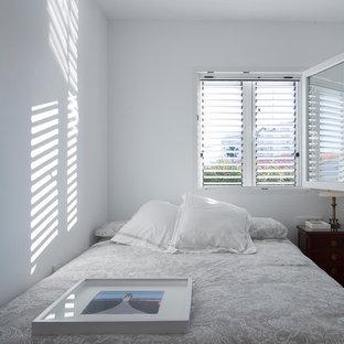 中サイズの地中海スタイルのおしゃれな客用寝室 (白い壁、淡色無垢フローリング) のインテリア