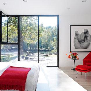 Cette photo montre une chambre tendance avec un mur blanc et un sol en bois clair.