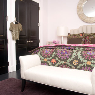 Inspiration for a mid-sized transitional painted wood floor bedroom remodel in DC Metro with pink walls and no fireplace