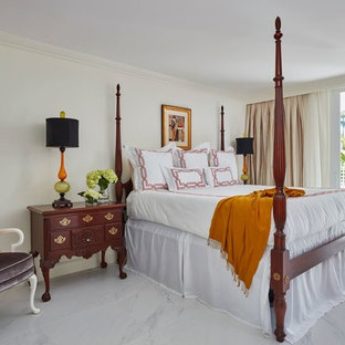 Bedroom - large traditional master white floor and marble floor bedroom idea in Miami with white walls