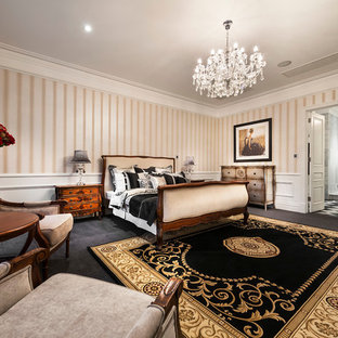 Inspiration for a timeless carpeted bedroom remodel in Perth with multicolored walls