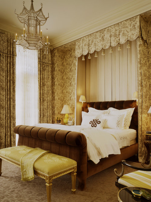 Bedroom - traditional carpeted bedroom idea in San Francisco & Canopy Sleigh Bed | Houzz