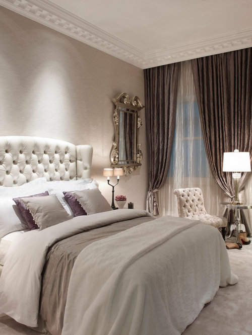 photo of a large classic guest bedroom in london with grey walls carpet and no - Bedroom Curtain Ideas