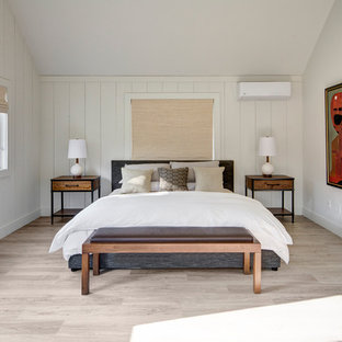 Inspiration For A Farmhouse Guest Light Wood Floor Bedroom Remodel In New York With White Walls
