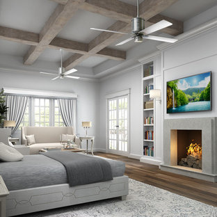 Bedroom - large transitional master medium tone wood floor bedroom idea in Phoenix with gray walls, a wood stove and a concrete fireplace