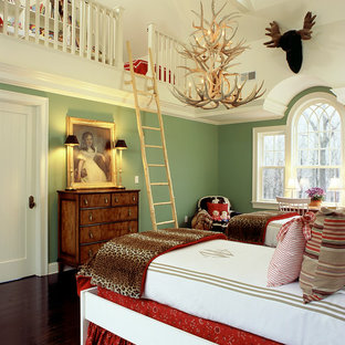 Inspiration for a timeless dark wood floor bedroom remodel in New York with green walls