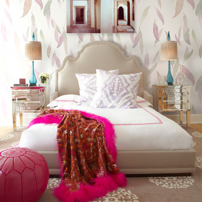 Mid-sized trendy master bedroom photo in New York with multicolored walls