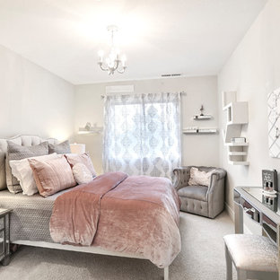 Inspiration for a small shabby-chic style guest carpeted bedroom remodel in Other with beige walls