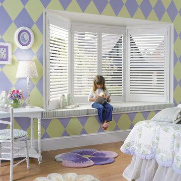 Girls Bedroom -Shutters in a Bay Window