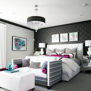 Bedroom - large transitional master carpeted and gray floor bedroom idea in Orange County with gray walls