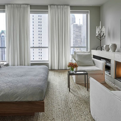 Large trendy master carpeted bedroom photo in Chicago with gray walls, a concrete fireplace and a standard fireplace