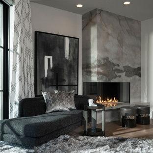 Ispirazione per un'ampia camera matrimoniale moderna con pareti grigie, parquet chiaro, camino ad angolo e cornice del camino in pietra