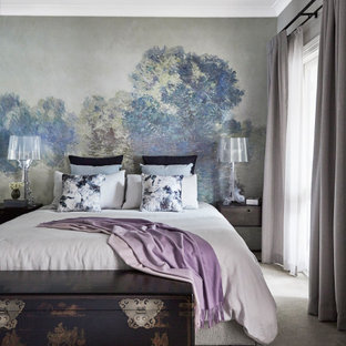 Inspiration for a mid-sized contemporary master bedroom in Sydney with carpet, no fireplace and grey floor.