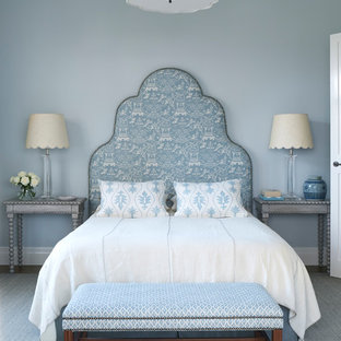 Inspiration for a transitional bedroom in Melbourne with blue walls.