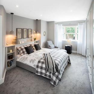 Ejemplo de dormitorio escandinavo, de tamaño medio, con paredes grises, moqueta y suelo gris