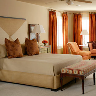 Bedroom - mid-sized contemporary master carpeted bedroom idea in Little Rock with beige walls and no fireplace