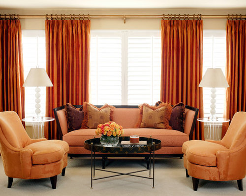 beige and orange curtains | houzz