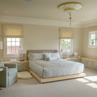 Inspiration for a transitional master bedroom remodel in San Francisco with beige walls