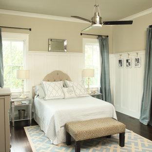 Bedroom - transitional dark wood floor bedroom idea in Charleston with beige walls