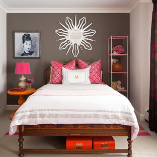 Inspiration for an eclectic carpeted and beige floor bedroom remodel in Chicago with black walls