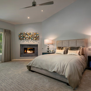 Example of a large transitional master bedroom design in Phoenix with gray walls, a corner fireplace and a metal fireplace
