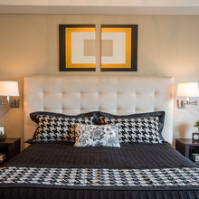 Bold Black and Cream Bedroom Design - Transitional - Bedroom ...