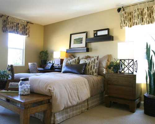 Mid Sized Elegant Guest Bedroom Photo In San Diego With Beige Walls And  Carpet