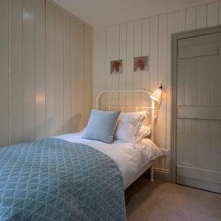 Foto de habitación de invitados campestre, pequeña, con paredes beige, moqueta, marco de chimenea de metal y suelo beige