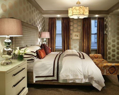 warm bedroom design. Inspiration For A Contemporary Carpeted Bedroom Remodel In New York With Green Walls Warm Design