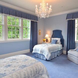 Modelo de habitación de invitados contemporánea, de tamaño medio, sin chimenea, con paredes azules, moqueta y suelo azul