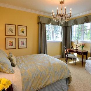 Diseño de habitación de invitados actual, de tamaño medio, sin chimenea, con paredes azules, moqueta y suelo azul