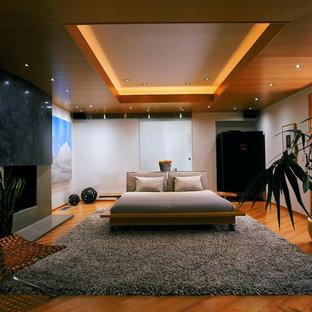 Foto de dormitorio tipo loft con paredes grises, suelo de madera en tonos medios, chimenea tradicional y marco de chimenea de hormigón