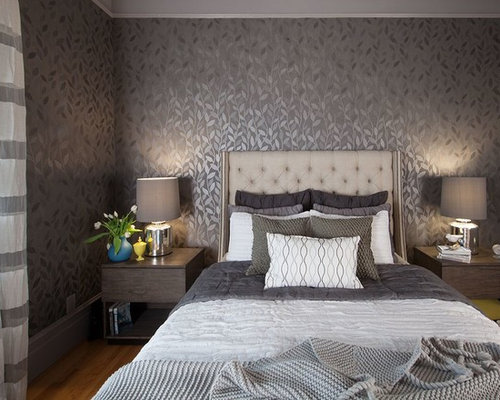 Bedroom wall designs houzz for Black bedroom wallpaper designs