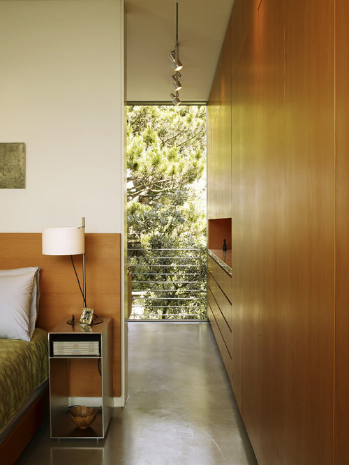 this is an example of a medium sized contemporary master bedroom in san francisco with concrete - Long Narrow Bedroom Design