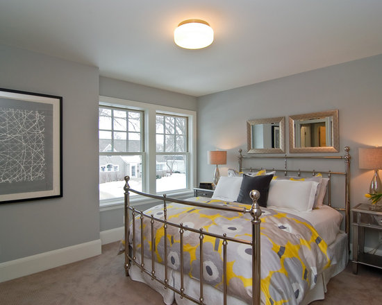 yellow and gray bedroom | houzz