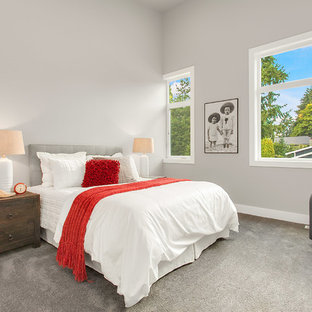Inspiration for a large modern carpeted bedroom remodel in Seattle with gray walls