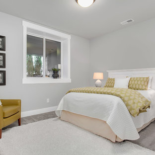 Inspiration for a mid-sized transitional carpeted bedroom remodel in Seattle with gray walls