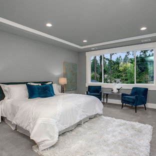 Transitional master carpeted bedroom photo in Seattle with gray walls