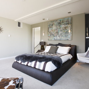 Inspiration for a mid-sized modern carpeted and gray floor bedroom remodel in Denver with gray walls and no fireplace