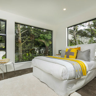 Photo of a contemporary guest bedroom in Auckland with white walls, carpet and brown floors.