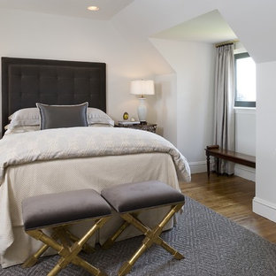 Bedroom - mid-sized transitional master light wood floor bedroom idea in New York with white walls and no fireplace