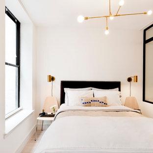 Esempio di una piccola camera matrimoniale moderna con pareti bianche, parquet chiaro e nessun camino