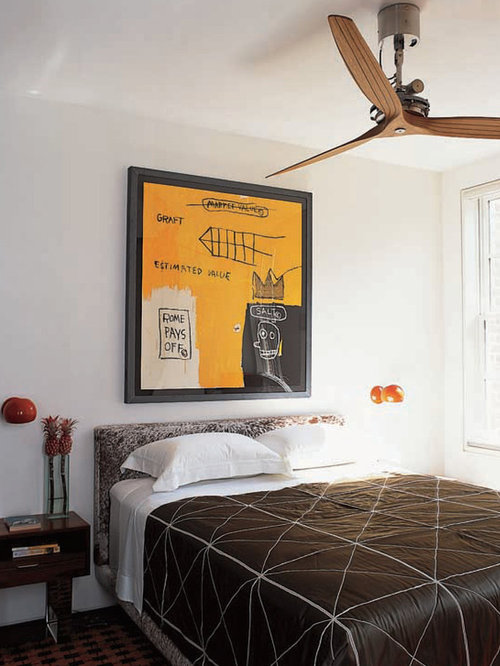 Inspiration For A Contemporary Guest Bedroom Remodel In New York With White  Walls