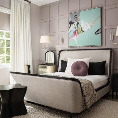 Bedroom - contemporary master bedroom idea in New York with purple walls