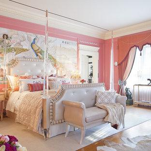 Bedroom - victorian bedroom idea in Los Angeles with pink walls