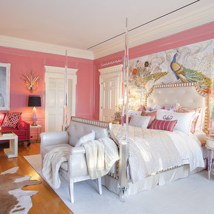 Bedroom Victorian Idea In Los Angeles With Pink Walls