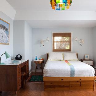 Idee per una camera degli ospiti minimalista di medie dimensioni con pareti blu, pavimento in legno massello medio, nessun camino e angolo studio