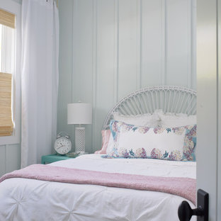 Cottage chic bedroom photo in Atlanta with blue walls
