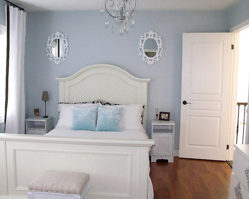 Inspiration for a contemporary guest medium tone wood floor bedroom remodel  in Toronto with blue walls